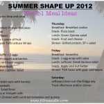 Summer Shape Up week 1 meal ideas