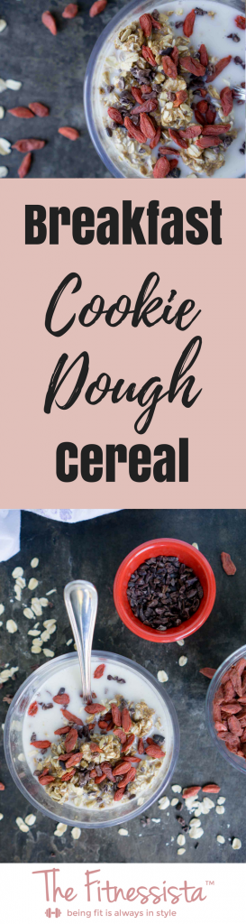 This healthy breakfast is almost too good to be true! Breakfast cookie dough cereal is packed with protein, healthy fats and nutrients to get your day started right. fitnessista.com | #cookiedoughcereal #healthycookiedough #breakfastcookiedough