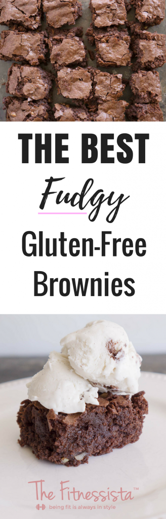 Fudgy and delicious, these are the best gluten-free brownies ever! You'll never need another brownie recipe in your life after you try these! fitnessista.com #glutenfreebrownies #glutenfreedessert #bestbrownierecipe #brownierecipe