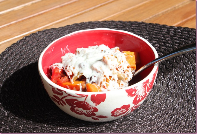 sweet potato black bean chili with goat cheese