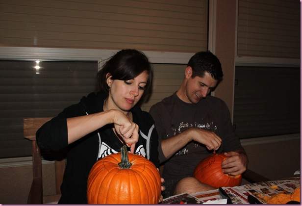 Tom and me carving pumpkins