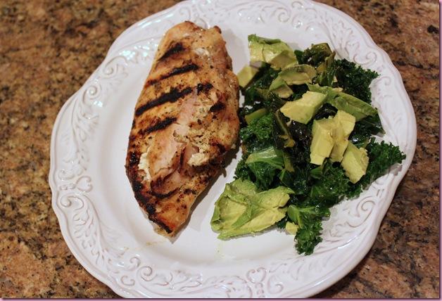 chicken, kale and cado