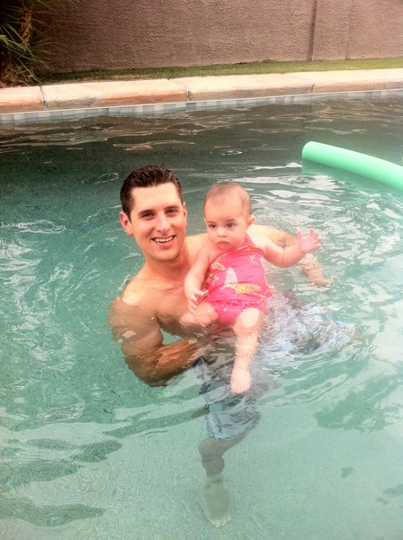 Liv and dad swimming