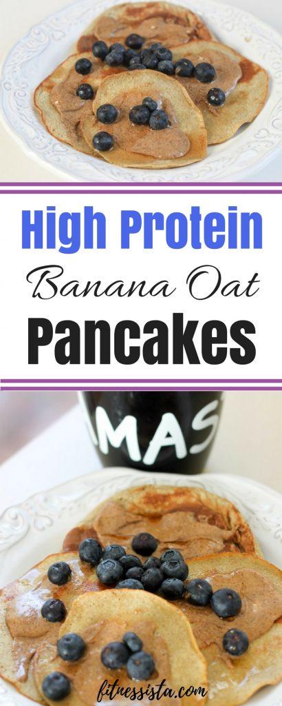 High Protein Banana Oat Pancakes