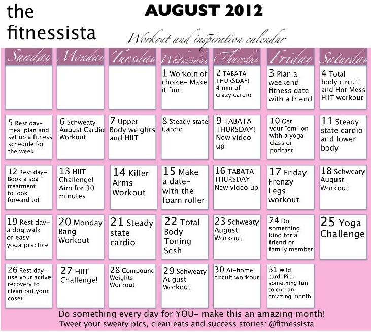 August 2012 Workout Calendar - The Fitnessista