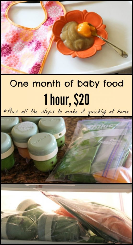 One month of healthy, homemade baby food--quick and inexpensive! fitnessista.com #homemadebabyfood #babyfoodrecipes
