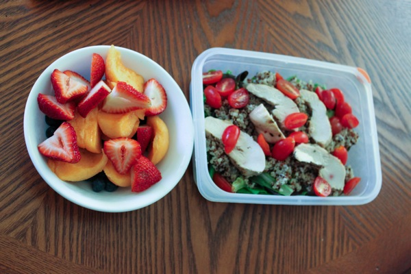 Salad and fruit food prep to eat clean on-the-go