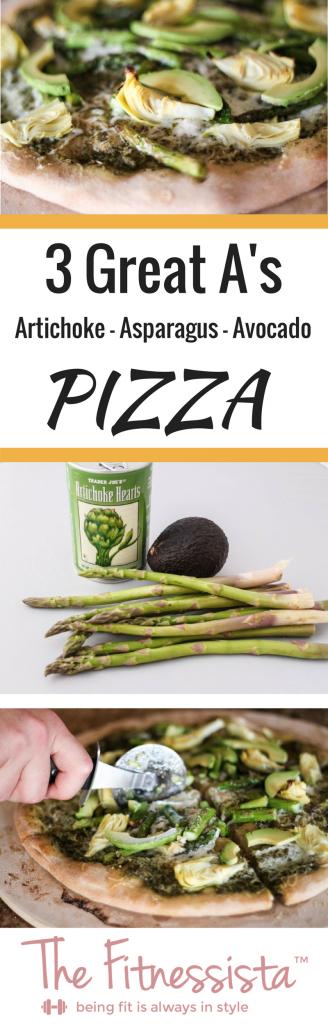 "Artichoke, asparagus and avocado pizza! AKA the ""three great A's!"" fitnessista.com #pizza #homemadepizza #pizzarecipe"
