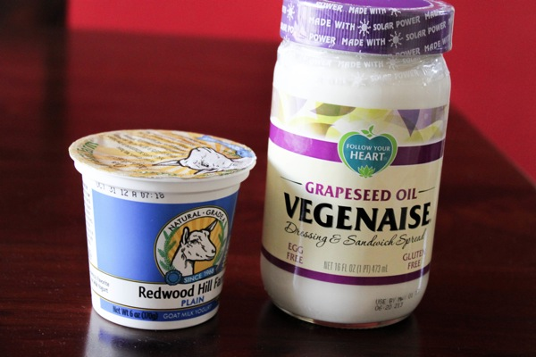 goat yogurt and vegenaise