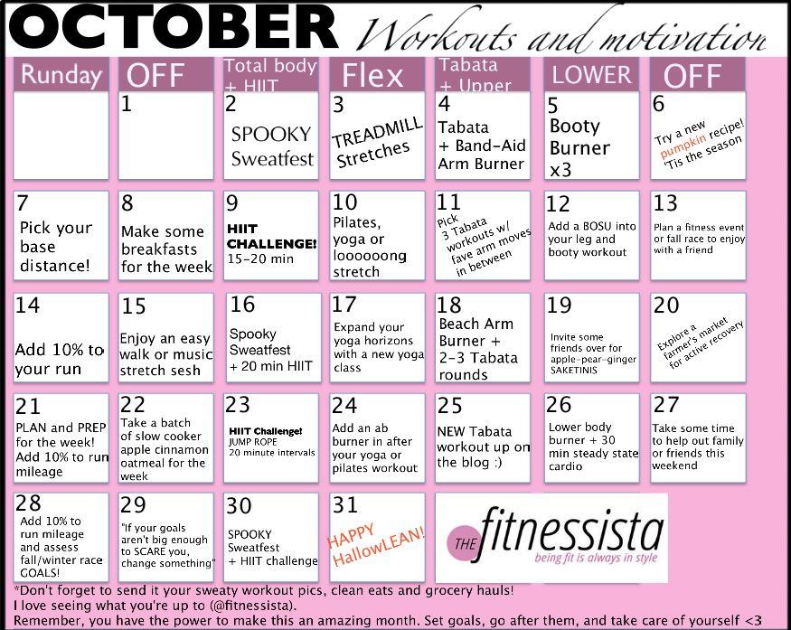 October Workout Calendar - The Fitnessista