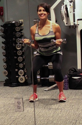 Squat with static curl