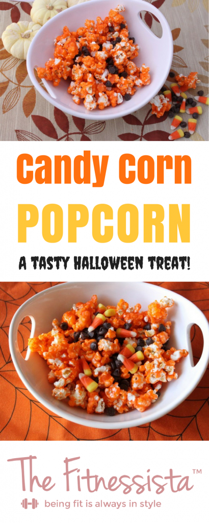 This candy corn popcorn recipe is the perfect fall treat. Salty popcorn coated with melted candy corn is the Halloween snack you need! fitnessista.com | #candycorn #halloweenrecipe