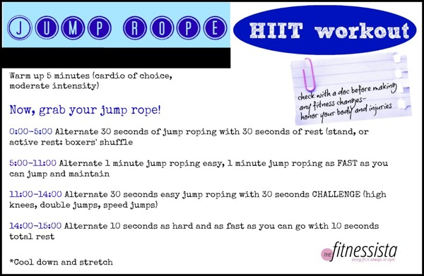 Boost your calorie burn for hours after your workout with this quick and sweaty jump rope HIIT workout that's only 15 minutes of work! fitnessista.com