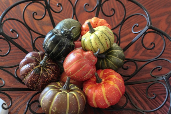 assorted mini pumpkins in a basket