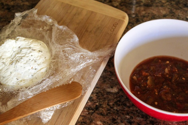 Goat cheese and salsa