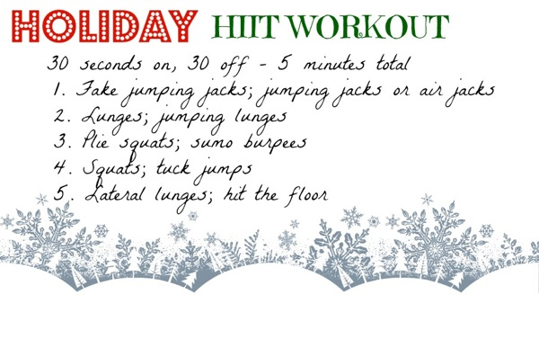 Holiday HIIT workout you can do anywhere! 5-minute cardio quickie you can do anywhere with just your body weight! fitnessista.com #HIIT #HolidayHIITWorkout #WorkoutAnywhere #HIITWorkout