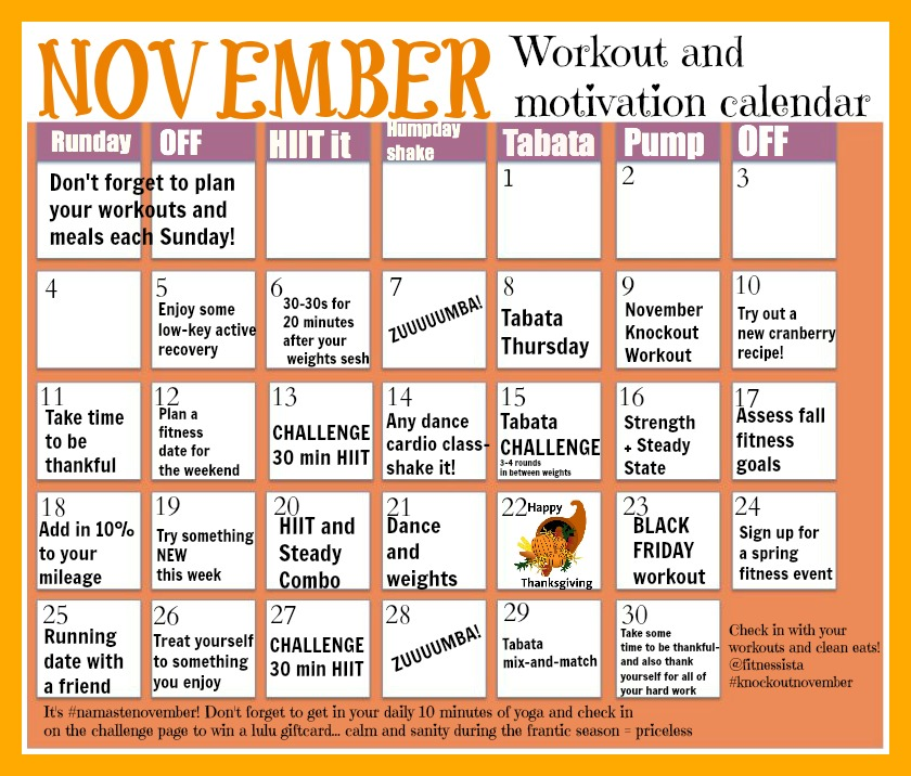 November Workout Calendar  The Fitnessista