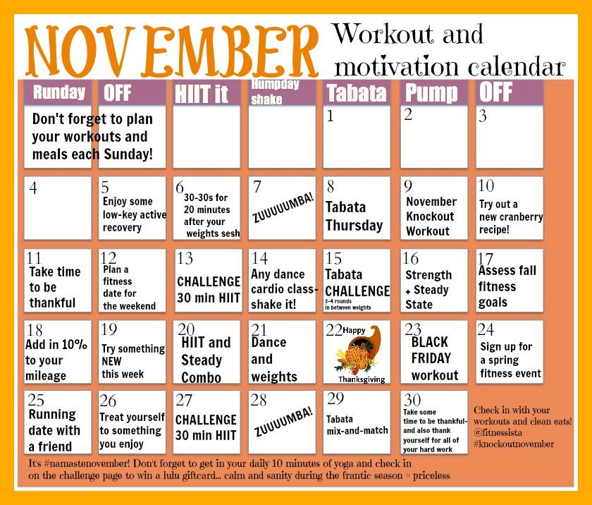 November Workout Calendar - The Fitnessista