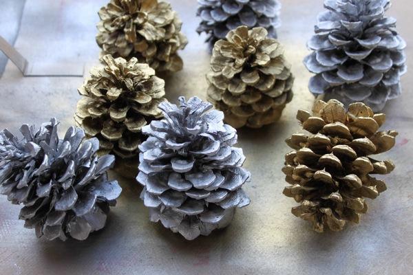 spray painted pine cones