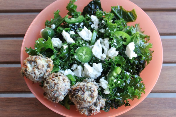 Kale salad with mini turkey meatloaf