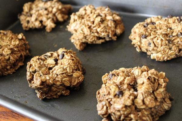 Healthy baked breakfast cookies in the oven