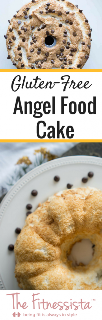 This gluten-free angel food cake is an excellent substitute for the original kind. Fluffy, light gluten-free angel food cake is perfect with coffee and would be excellent with some summer berries for dessert! | fitnessista.com | #glutenfreedessert #glutenfreeangelfoodcake #angelfoodcakerecipe