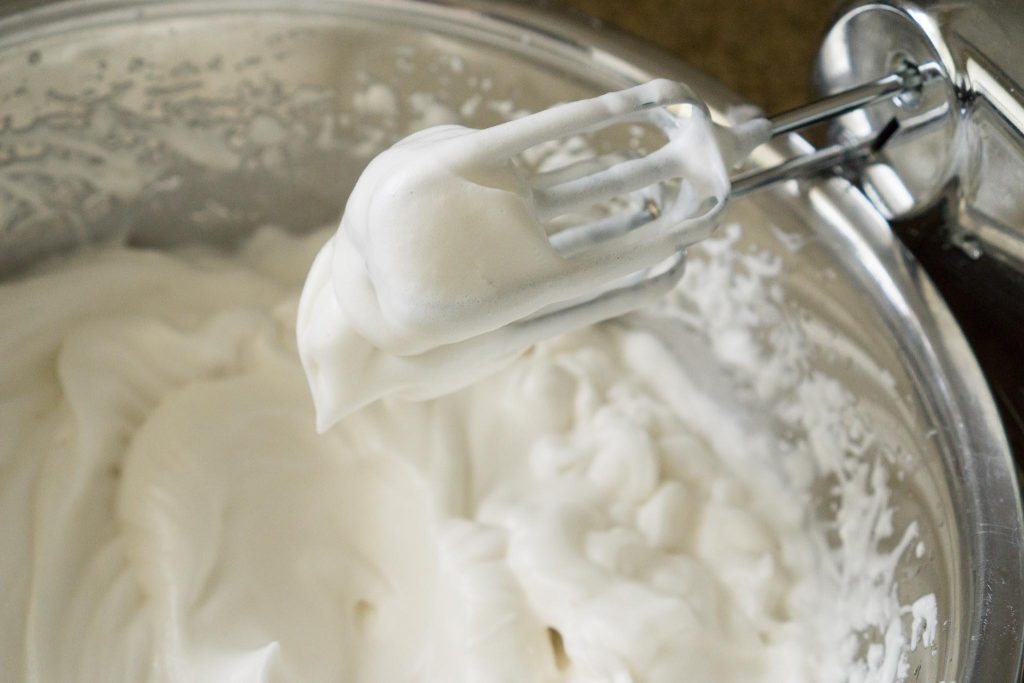 Egg whites whipped to stiff peaks