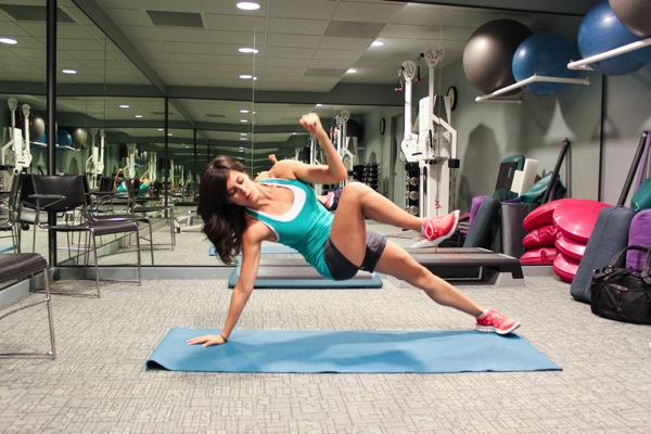 Side plank bottom leg raise