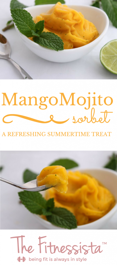 The mint in this mango sorbet gives a nod to my favorite drink--mojitos! This mango mojito sorbet recipe is easy to make and a refreshing treat for summer! fitnessista.com