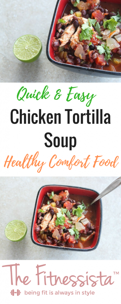 Healthy comfort food! Simple, comforting chicken tortilla soup can easily be thrown together on a weeknight. Perfect for chilly nights or to soothe a cold. fitnessista.com