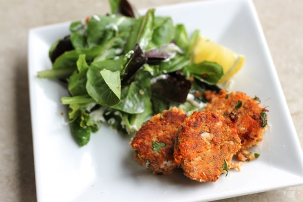 Salmon cakes and salad