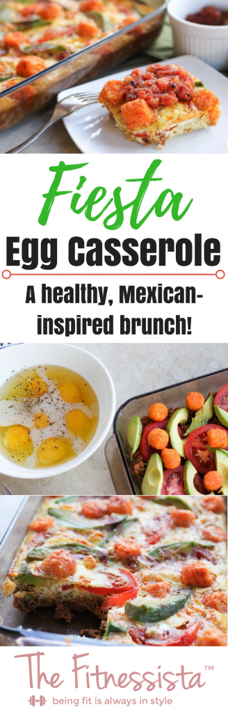 This Mexican-inspired Fiesta Egg Casserole combines turkey chorizo, avocado, tomatoes and sweet potato tater tots into a baked egg dish deliciousness!