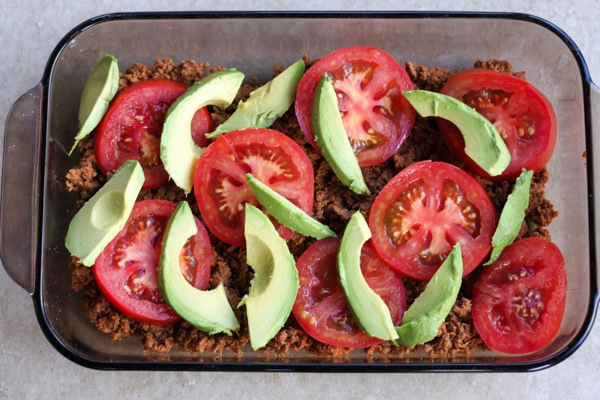 chorizo, tomatoes, avocado