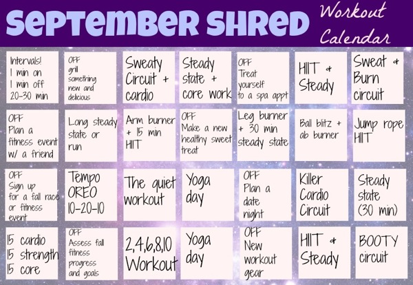 September Shred Workout Calendar - The Fitnessista
