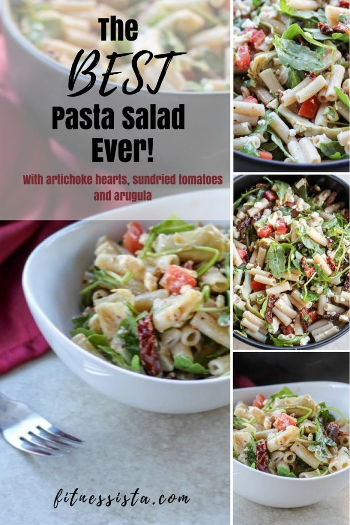 Best Pasta Salad Ever with Arugula Sundried Tomatoes and Artichoke Hearts