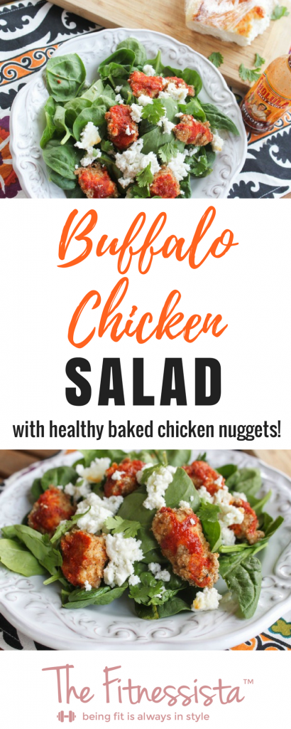 Baked chicken nuggets are the star of the show in this healthy buffalo chicken salad. All the goodness of familiar chicken nuggets, minus all the junk. | fitnessista.com | #buffalochickensalad #healthybuffalochicken #saladrecipe #healthydinnerrecipe #healthylunchrecipe #bakedchickennuggetrecipe