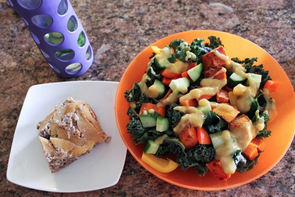 apple bread and miso salad