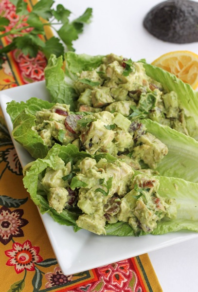 Avocado chicken salad served on lettuce for a low-carb lunch