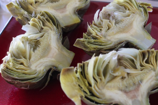 boiled, halved artichokes