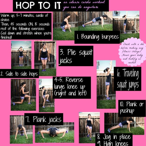 Hop to it cardio workout. This is the perfect quick and sweaty Easter workout to get you in true Easter Bunny spirit! ;) fitnessista.com | #easterworkout #HIITworkout #cardioworkout #