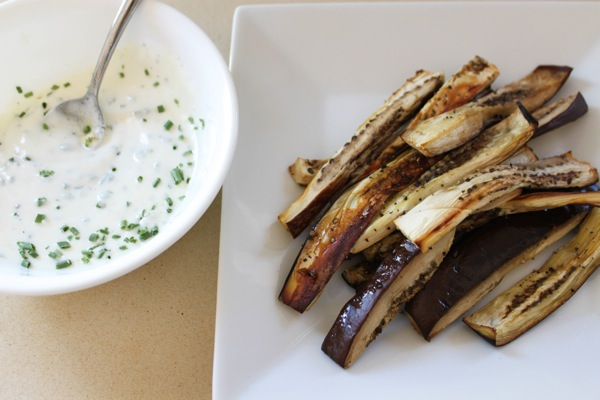 Eggplant fries with yogurt sauce