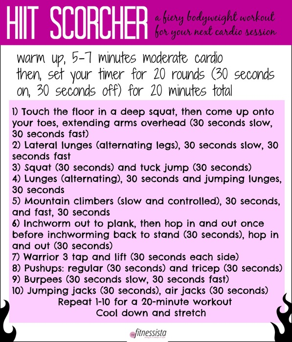 Use only your bodyweight for this HIIT workout you can do anywhere. Increase fitness and maximize fat-burning potential in minimal time, so it works well in a pinch if you only have time for a quick workout. fitnessista.com
