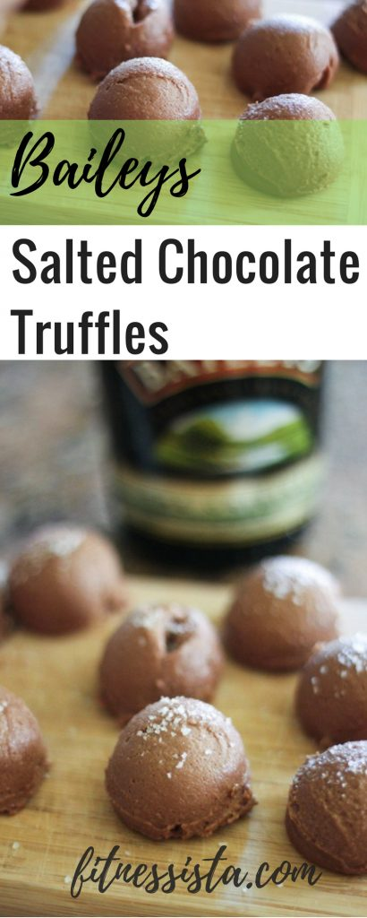 Baileys Chocolate Truffles - These salted chocolate truffles with Baileys are the perfect St. Patrick's Day dessert! fitnessista.com