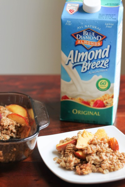 Baked oatmeal made with Blue Diamond Almond Breeze