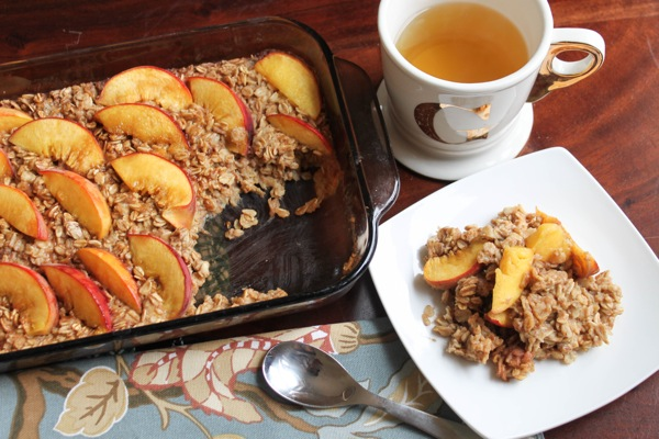 vegan peach baked oatmeal