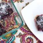 no-bake blueberry jam bars. Grain-free, vegan, no sugar added and a perfect healthy snack option! www.fitnessista.com