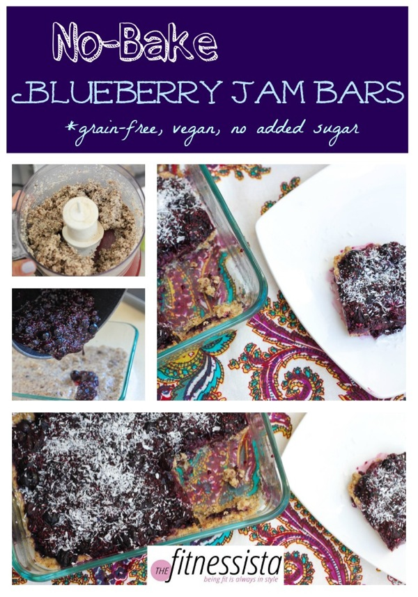 No bake blueberry jam bars are a healthy make-ahead snack to have around for the week. Grain-free, vegan and no added sugar! fitnessista.com