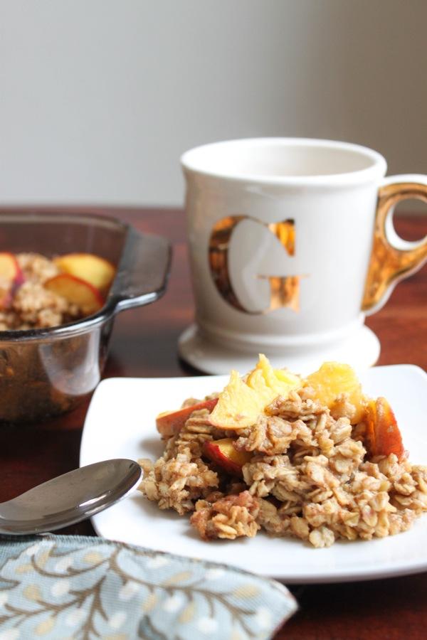 Vegan peach baked oatmeal