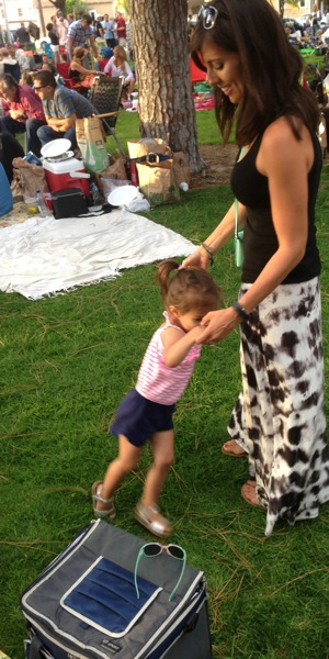 Liv and me dancing at outdoor concert