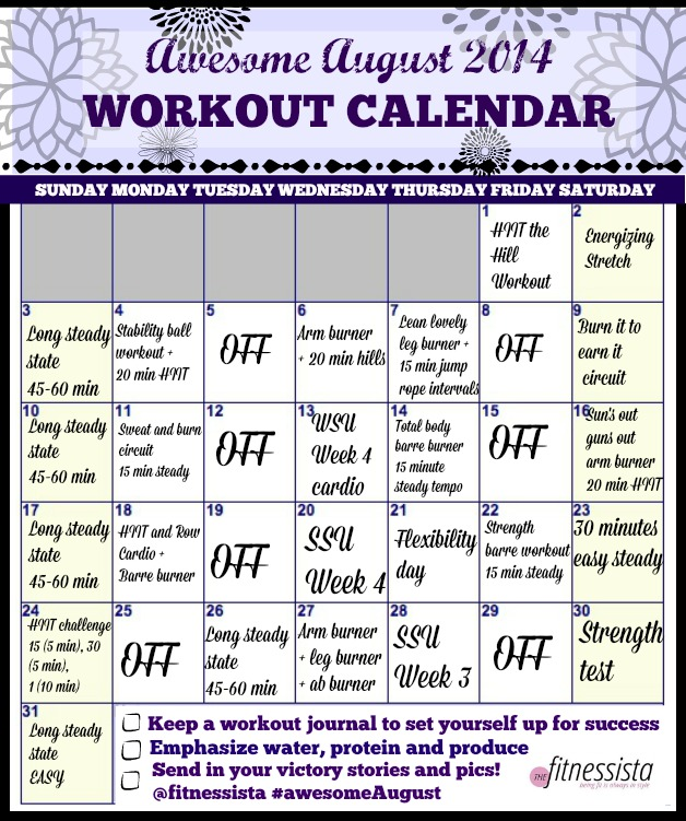 August  Workout Calendar  The Fitnessista